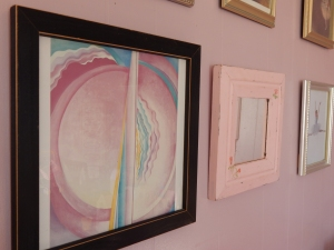 "My daughter asked for this Georgia O'Keefe  work titled ""Pink Abstraction"" to be hung in her room a midst pictures of ballerinas."